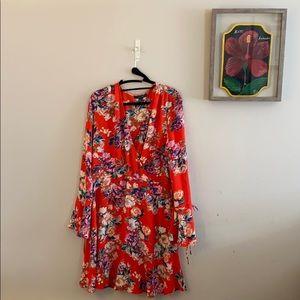 Floral flutter-sleeve dress